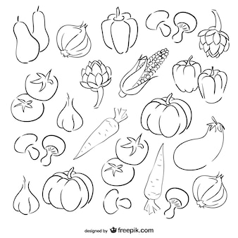 Conjunto de dibujos de verduras