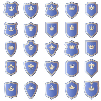 Conjunto de diseños de escudos con diversas formas de coronas