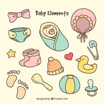 Conjunto de elementos adorables de bebé dibujados a mano