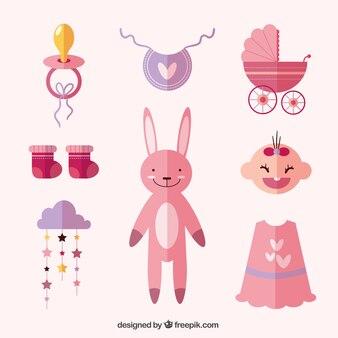 Conjunto de elementos de bebé y peluche de conejito