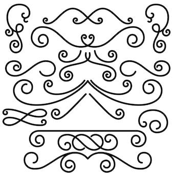 Conjunto de elementos de diseño remolinos