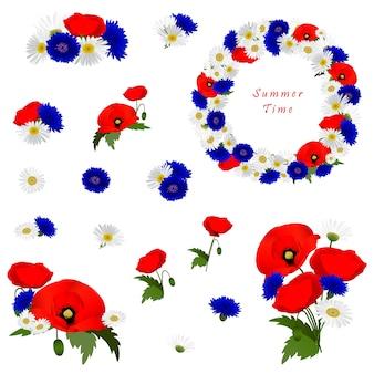 Conjunto de elementos decorativos con flores de manzanilla, amapolas y cornflowers