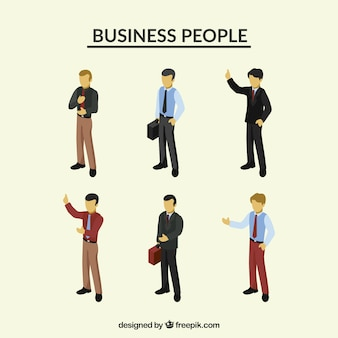 Conjunto de empresarios elegantes