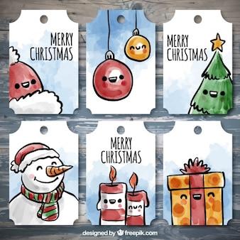 Conjunto de etiquetas bonitas con artículos de navidad