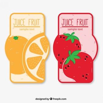 Conjunto de etiquetas de zumo de fruta