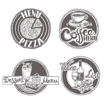 Conjunto de etiquetas del menú del bosquejo del restaurante