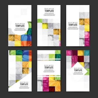 Conjunto de folletos de negocios coloridos