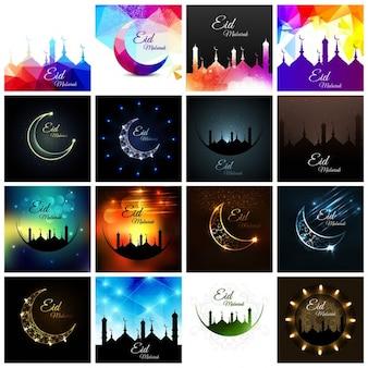 Conjunto de fondos de eid mubarak