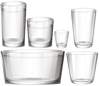 Conjunto de gafas transparentes sobre un fondo blanco