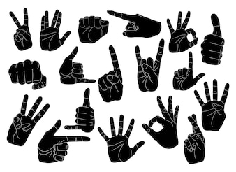 Conjunto de gestos de manos