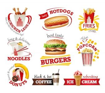 Conjunto de hermosos iconos de dibujos animados de comida rápida