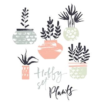 Conjunto de hobby. Plantas en macetas. Texturas de pincel seco