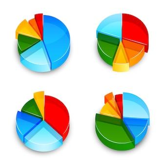 Conjunto de iconos 3d de gráfico de sectores