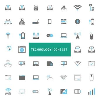 Conjunto de iconos acerca de diferentes tecnologías