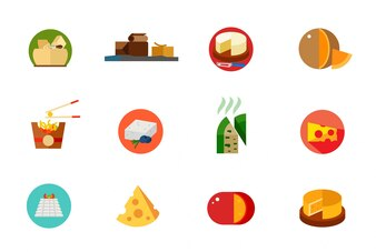 Conjunto de iconos de alimentos de queso