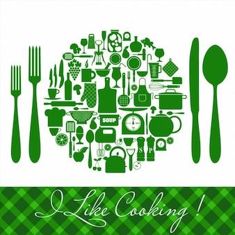 Conjunto de iconos de cocina verdes