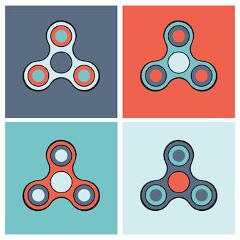 Conjunto de iconos de colores de spinner de mano