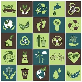 Conjunto de iconos de la ecología