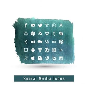 Conjunto de iconos de los medios de comunicación social moderna