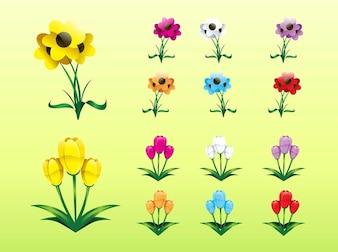 Conjunto de iconos de plantas de colores
