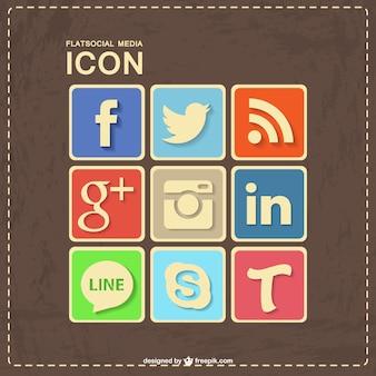 Conjunto de iconos de redes sociales retro