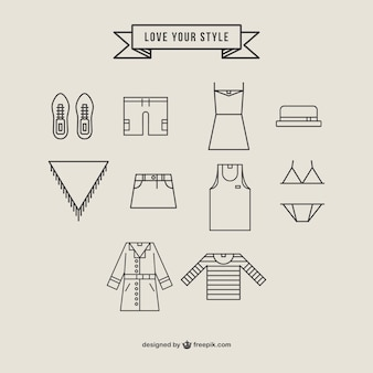 Conjunto de iconos de ropa