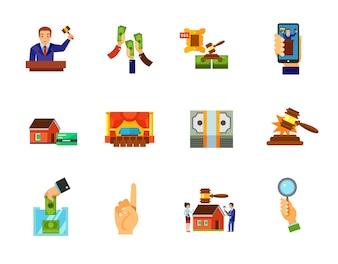 Conjunto de iconos de subastas