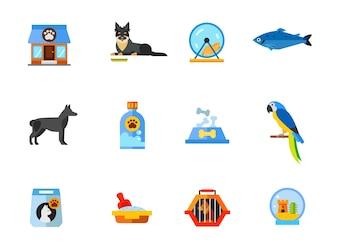 Conjunto de iconos de tienda de mascotas