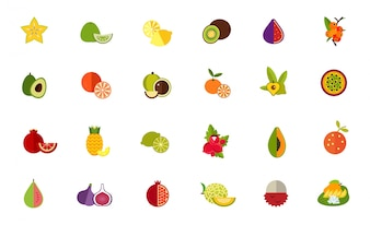 Conjunto de iconos de variedad de frutas