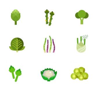 Conjunto de iconos de verduras verdes
