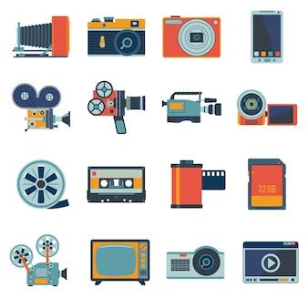 Conjunto de iconos de vídeo de fotos