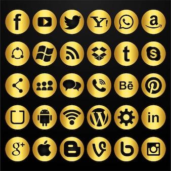 Conjunto de iconos dorados de redes sociales