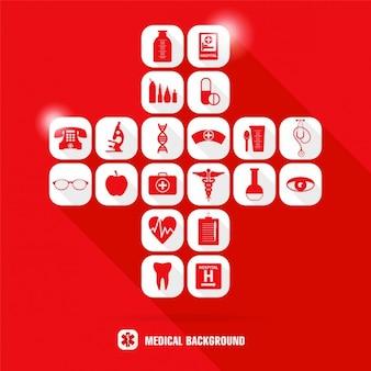 Conjunto de iconos médicos rojos