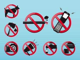 Conjunto de iconos prohibidas