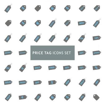 Conjunto de iconos sobre etiquetas de precios