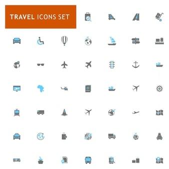 Conjunto de iconos sobre viajes