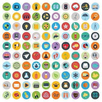 Conjunto de iconos web y la tecnología de desarrollo