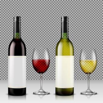 Conjunto de ilustración vectorial realista de botellas de vino de vidrio y vasos con vino blanco y rojo