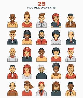 Conjunto de ilustración vectorial un plano avatares iconos