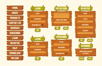 Conjunto de ilustraciones de dibujos animados de vectores signos de madera, elementos de diseño gui