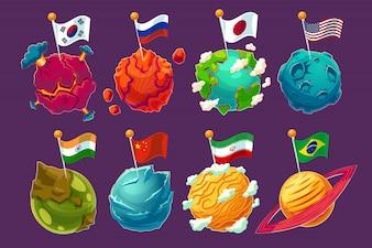 Conjunto de ilustraciones de vectores de dibujos animados planetas alienígenas de fantasía con las banderas ondeando en ellos