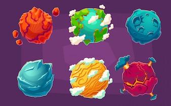 Conjunto de ilustraciones de vectores de dibujos animados planetas alienígenas de fantasía