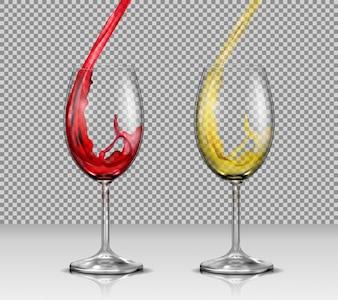Conjunto de ilustraciones vectoriales de copas de vidrio de vidrio transparente con vino blanco y rojo que vierte en ellos