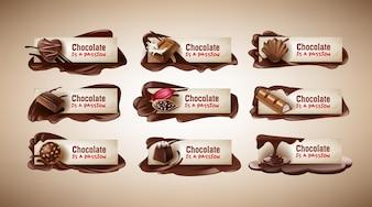 Conjunto de ilustraciones vectoriales, pancartas con dulces de chocolate, barra de chocolate, granos de cacao y chocolate derretido
