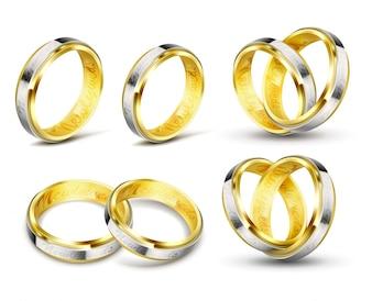 Conjunto de ilustraciones vectoriales realistas de anillos de boda de oro con grabado