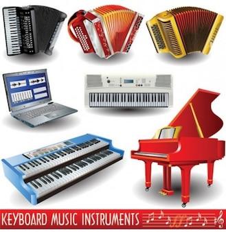 Conjunto de instrumentos de teclado musicales