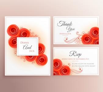 Conjunto de invitación de boda con rosas