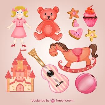 Conjunto de juguetes de color rosa