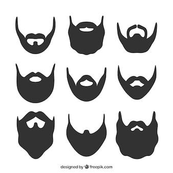 Conjunto de la silueta de la barba
