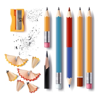 Conjunto de lápices afilados vector de varias longitudes con un caucho, un afilador, virutas de lápiz